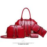 。DearBaby。買一送三質感簡約素面手提肩背包(紅色)-預購