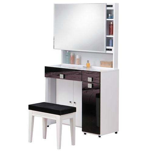 HAPPYHOME 米蘭白色2.7尺鏡台-含椅子648-7