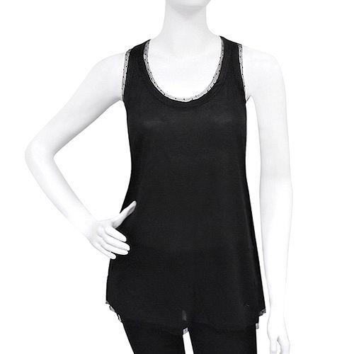 GUCCI 蕾絲無袖挖背長版上衣(M號/黑色)