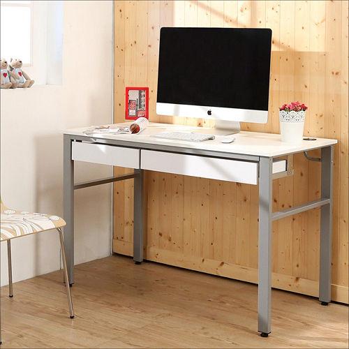 《BuyJM》低甲醛鏡面120公分穩重型雙抽屜工作桌