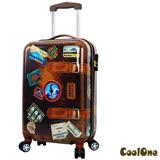 CoolOne 仿復古牛皮 PC 亮面20吋飛機輪旅行箱