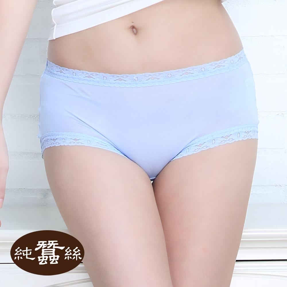 【岱妮蠶絲】FA5018E純蠶絲42針70G中高腰蕾絲三角內褲 (水藍)