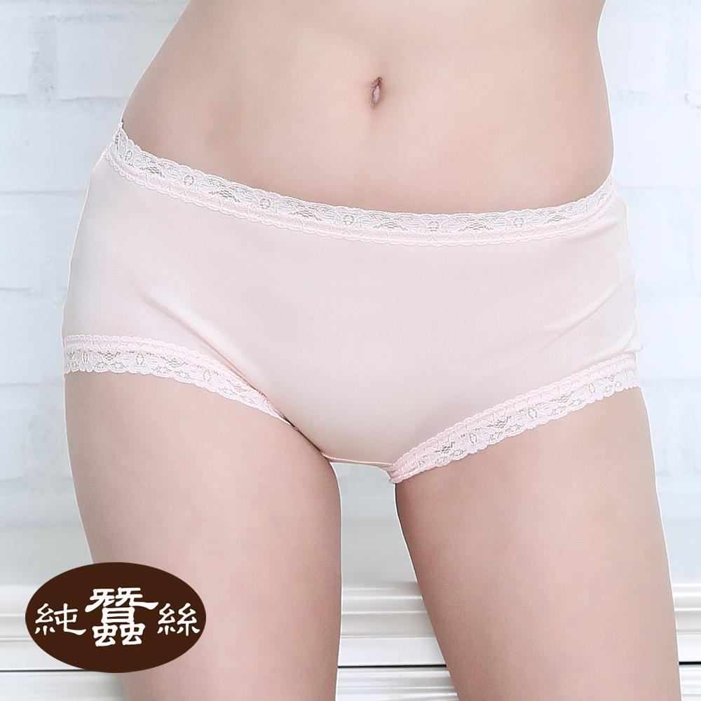 【岱妮蠶絲】FA5018E純蠶絲42針70G中高腰蕾絲三角內褲 (粉膚)
