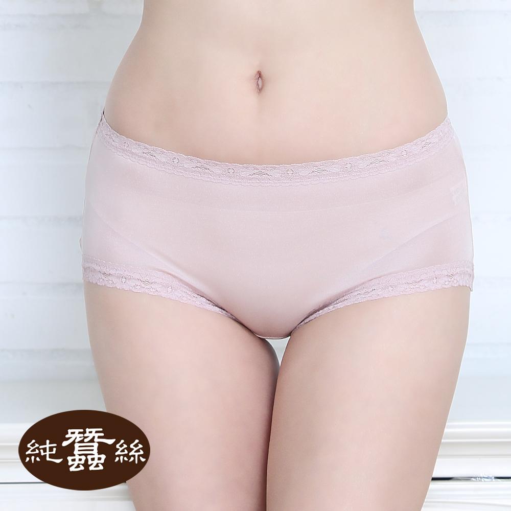 【岱妮蠶絲】FA5018E純蠶絲42針70G中高腰蕾絲三角內褲 (粉珠)