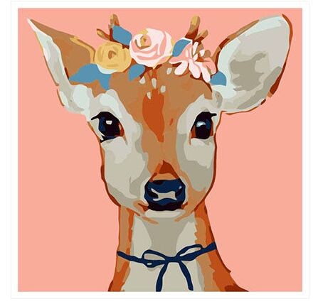 ArtLife藝術生活【33049】繽紛鹿_DIY 數字 油畫 彩繪 30*30cm