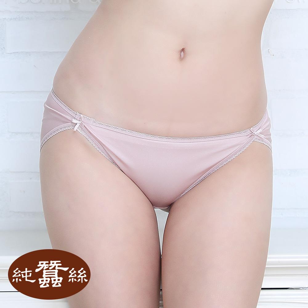 【岱妮蠶絲】DA0119E純蠶絲42針70G拼接低腰高衩內褲 (珠粉)