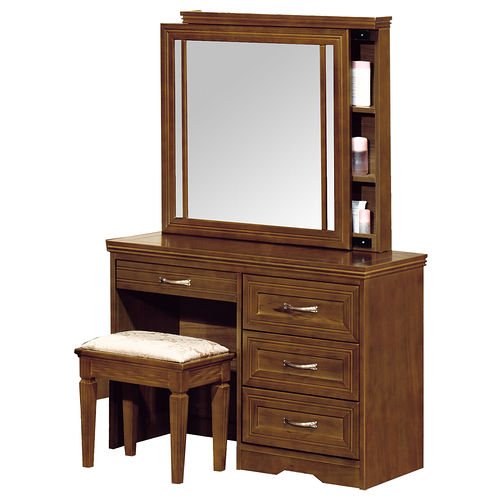 HAPPYHOME 楓芝林樟木2.6尺拉鏡化妝台-含椅子688-7