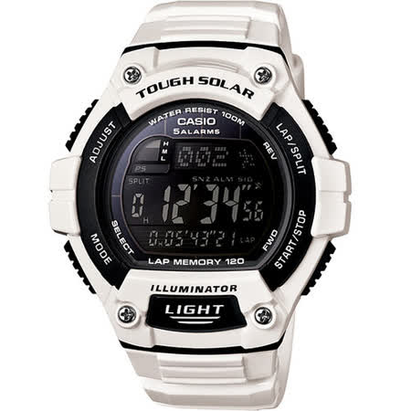 CASIO 躍動心靈太陽能運動腕錶(白)