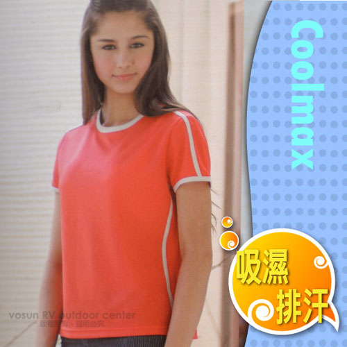 【瑞多仕-RATOPS】女款 輕量透氣圓領短袖T恤 / DB7470 桃紅/灰白