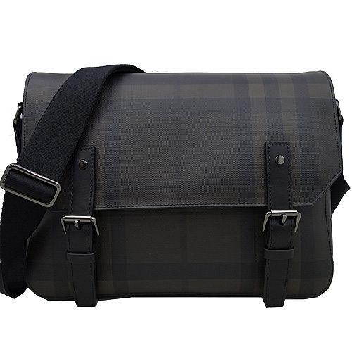 BURBERRY 經典格紋橫式吸釦翻蓋斜側背包(黑/咖)