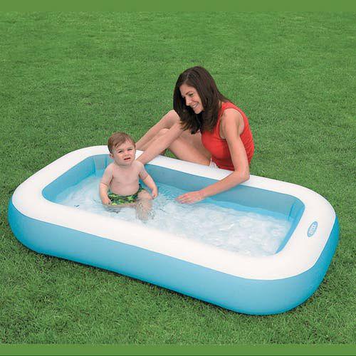 INTEX 嬰兒長方型游泳池(氣墊底)166*100*28CM