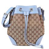 GUCCI 經典緹花布面搭配皮革邊兩用束口水桶包(卡其粉藍)