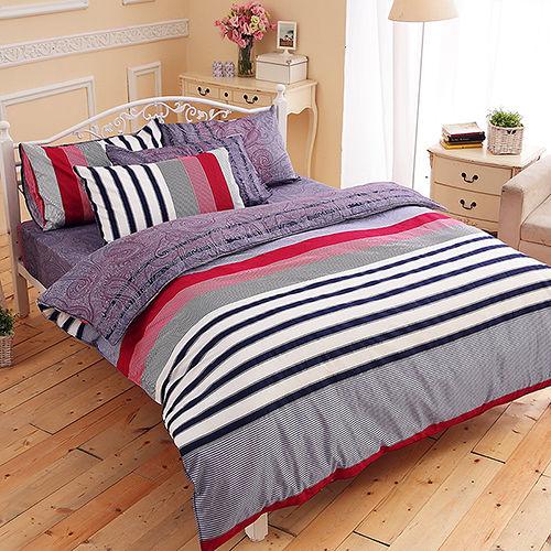 FOCA《沈穩步調》加大100%精梳棉四件式舖棉兩用被床包組