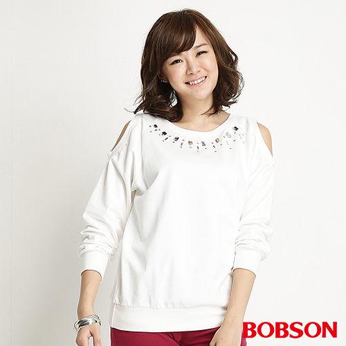 BOBSON 女款鑽飾裸肩長袖上衣(米白34078-81)