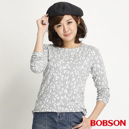 BOBSON 女款豹紋長袖上衣(麻花34076-82)