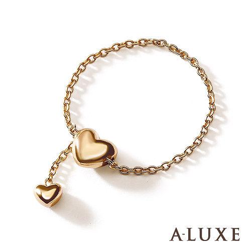 A-LUXE 亞立詩鑽石 日系輕珠寶 10K金愛心女戒-長度可調