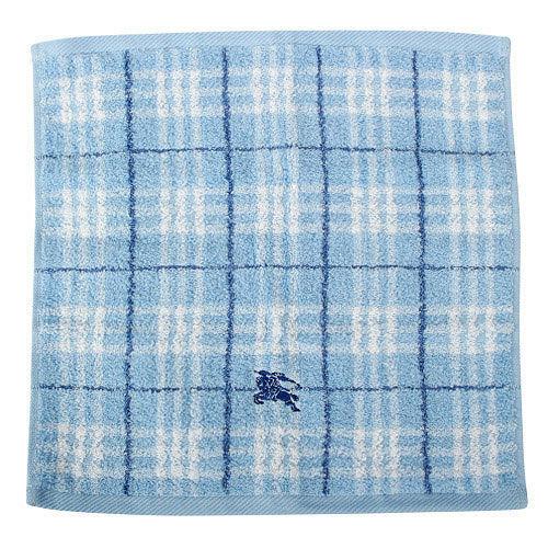 BURBERRY 格紋100%棉質方巾-水藍色
