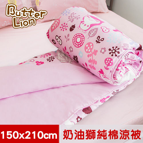 【奶油獅】好朋友系列-台灣製造-100%精梳純棉涼被/夏被(俏麗粉)-5*7尺
