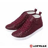 AIRWALK(女) - 夏日的紗網隱式豹紋內增高休閒鞋 - 皇后紅