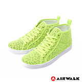 AIRWALK(女) - 夏日的紗網隱式豹紋內增高休閒鞋 - 螢黃綠