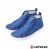 AIRWALK(女) - 夏日的紗網隱式豹紋內增高休閒鞋 - 海豹藍
