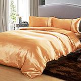 (任選)RODERLY 艷麗金 絲緞 雙人四件式被套床包組