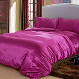 (任選)RODERLY 艷麗紫 絲緞 雙人四件式被套床包組