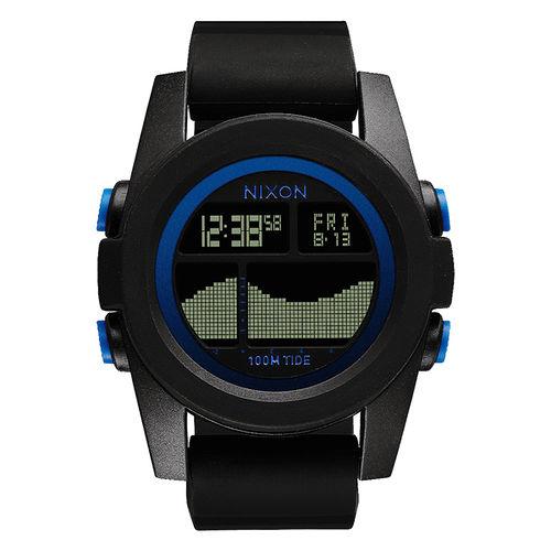 NIXON Unit Tide 飆悍美式軍風運動腕錶-藍框黑