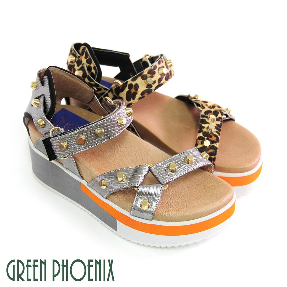 【GREEN PHOENIX 波兒德】BIS-VITAL立體釘扣鏤空金屬感義大利進口豹紋皮厚底涼鞋