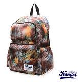 KANGOL 英國袋鼠 「JUNGLE」機能時尚棕欖葉圖騰後背包-咖啡KG1111-G