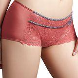 【思薇爾】愛戀哥德系列M-XL蕾絲中低腰平口褲(磚紅色)