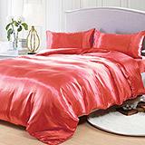 (任選)RODERLY 草莓紅 絲緞 雙人四件式被套床包組