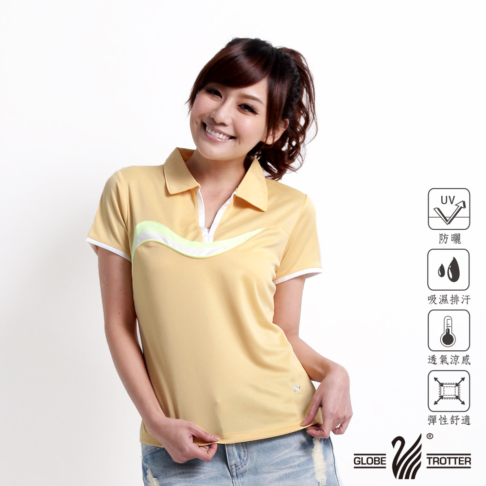 【遊遍天下】女款艷酷涼爽吸濕排汗機能POLO衫NS013黃