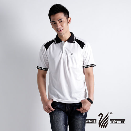 【遊遍天下】男款抗UV吸濕排汗機能POLO衫NS005白黑