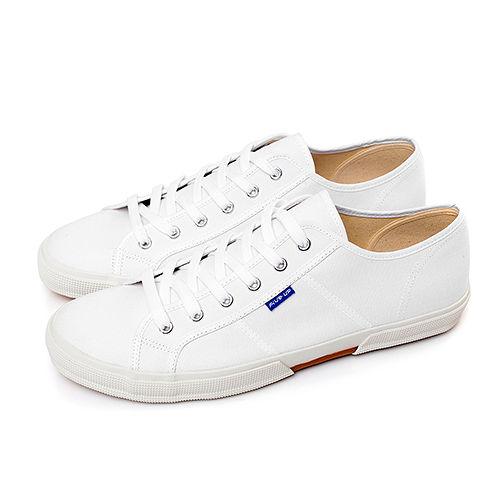 FIVE UP(男) - 簡約舒適休閒綁帶帆布鞋-白