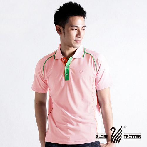 【遊遍天下】MIT台灣製男款抗UV涼爽吸濕排汗機能POLO衫S083粉
