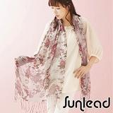 Sunlead 日系浪漫花朵鏤空垂墜感遮陽長版圍巾/領巾/披肩