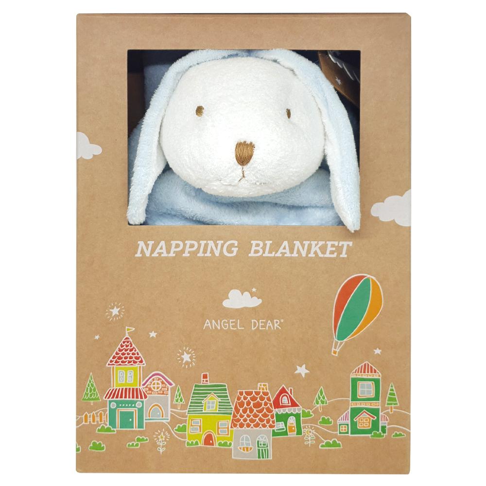 美國 Angel Dear 大頭動物嬰兒毛毯禮盒 (藍色小兔-白白)
