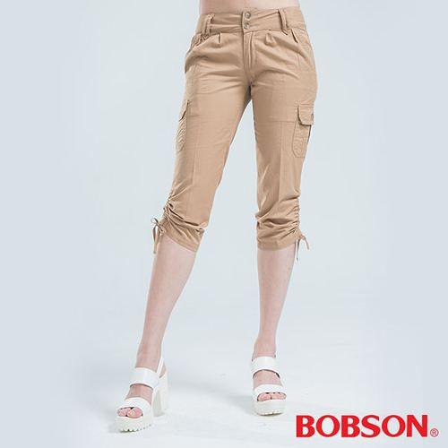 BOBSON 側邊貼口袋七分褲-卡其