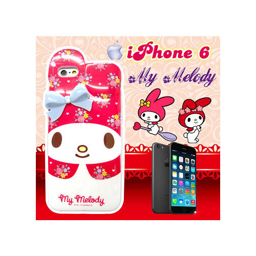 三麗鷗正版授權 My Melody IPHONE 6 4.7吋 立體蝴蝶結保護殼 背蓋(花朵美樂蒂)