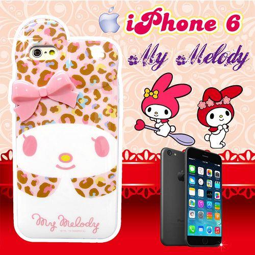 三麗鷗正版授權 My Melody IPHONE 6 4.7吋 立體蝴蝶結保護殼 背蓋(豹紋美樂蒂)