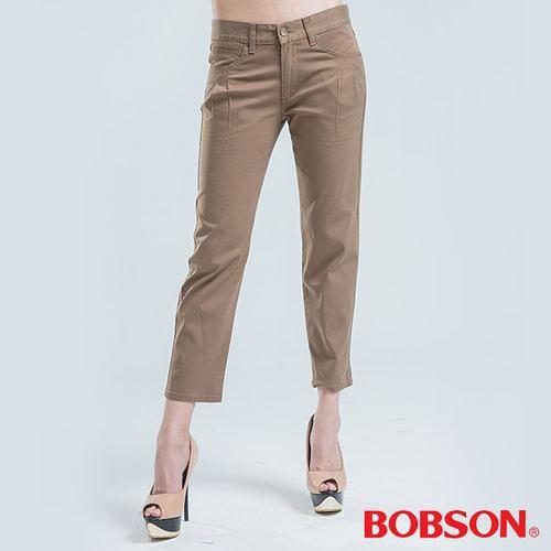 BOBSON 吊帶打摺直筒色褲-卡其