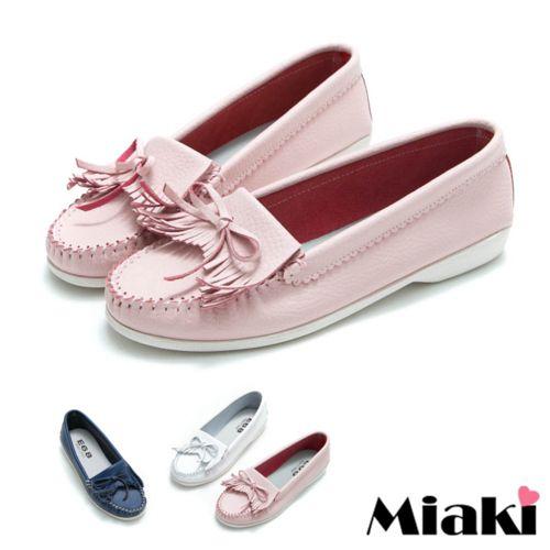 【Miaki】休閒鞋經典不敗平底樂福包鞋 (白色/藍色/粉色)