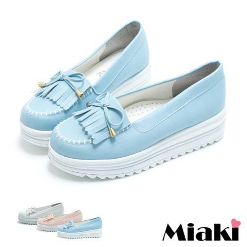 【Miaki】MIT 樂福鞋韓風厚底牛津包鞋休閒鞋 (白色/粉色/藍色)