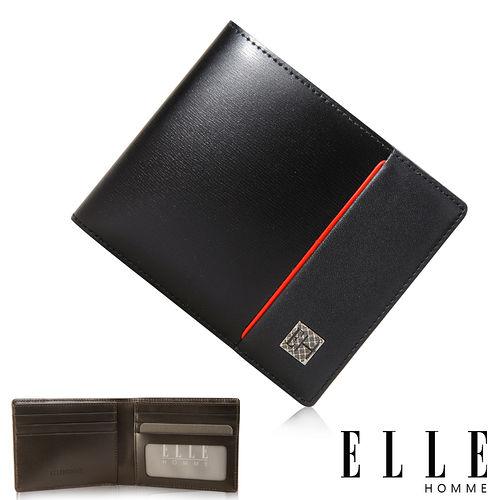 ELLE HOMME 法式精品短夾 嚴選義大利頭層皮 鈔票多層/名片多層設計-黑 EL81960-02