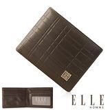 ELLE HOMME 線條格紋義大利頭層皮系列 6卡法式精品短夾 -咖啡 EL81985-45