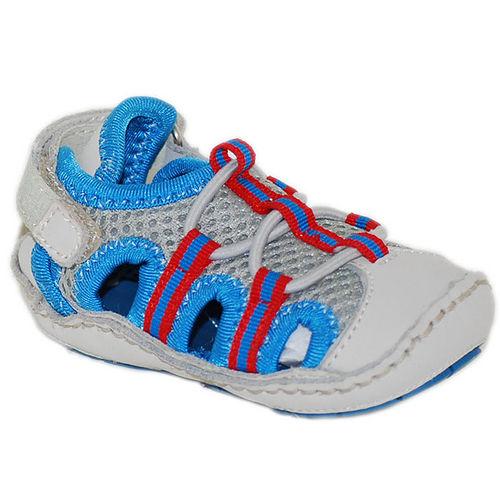 美國 Rileyroos 真皮手工鞋/學步鞋/童鞋/寶寶鞋/嬰兒鞋_派翠克 時尚藍銀涼鞋