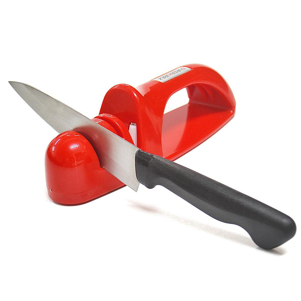 【促銷】日本製造Shimomura三用陶瓷磨刀器(紅色)