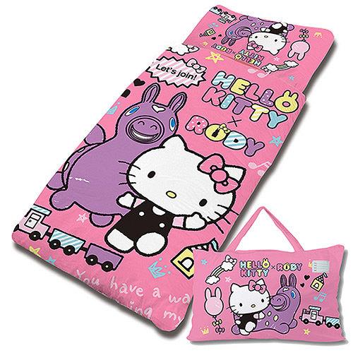【享夢城堡】HELLO KITTY x RODY 歡樂時光-精梳棉舖棉冬夏兩用兒童睡袋(粉)