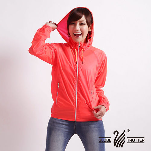 【遊遍天下】MIT台灣製抗UV防風機能連帽外套A020桔色